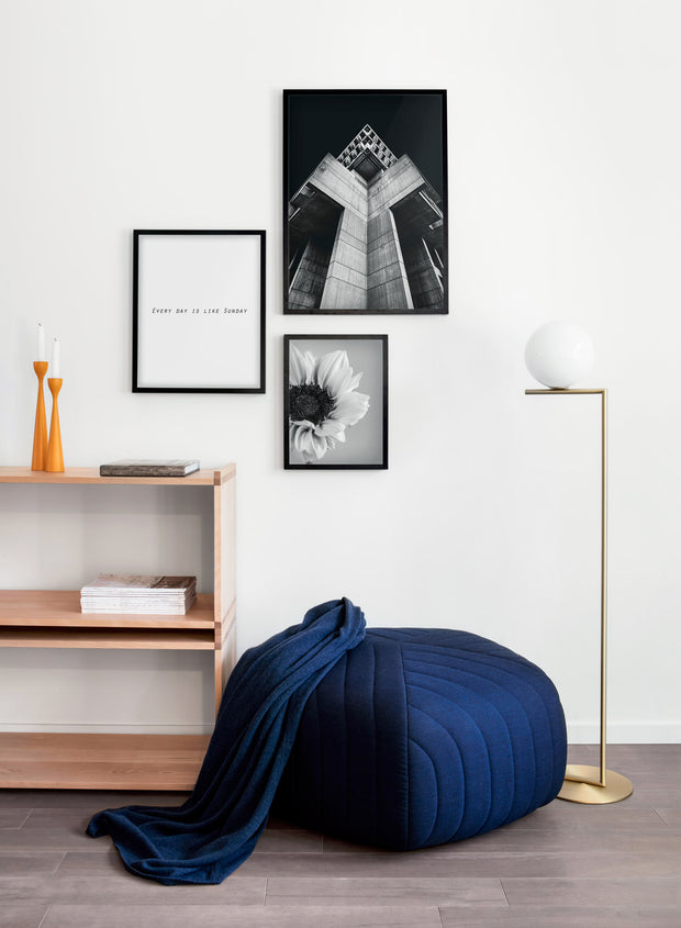 Scandinavian poster by Opposite Wall with black and white sunflower photography - Living room with a pouf