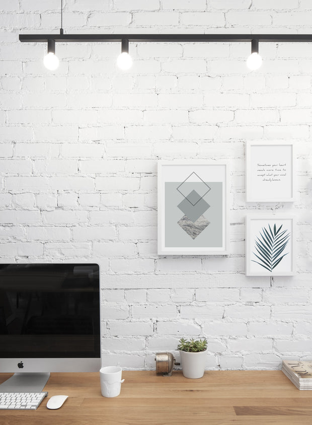 Modern minimalist poster by Opposite Wall with trendy Laurel green and marble abstract graphic design - Personal office