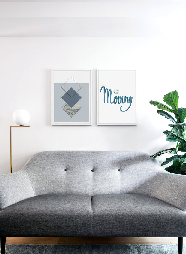 Scandinavian poster by Opposite Wall with trendy Flint blue graphic abstract design - Living room with a couch
