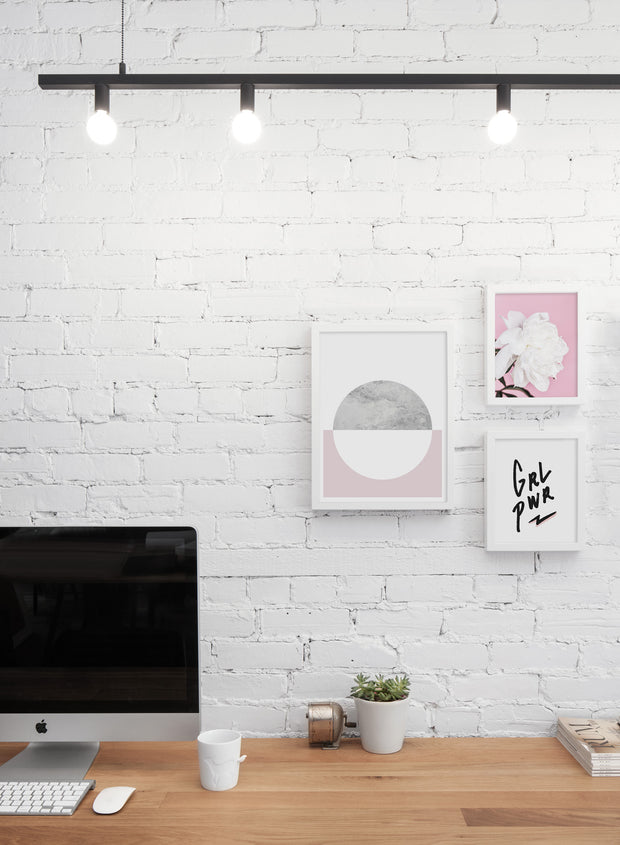 Scandinavian art print by Opposite Wall with Girl Power graphic typography design - Personal office
