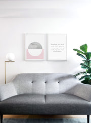 Scandinavian art print by Opposite Wall with inspirational Heart and Mind quote - Living room with a sofa