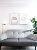 minimalist poster by Opposite Wall with trendy pink and marble abstract graphic design Heavenly - Living room with a sofa
