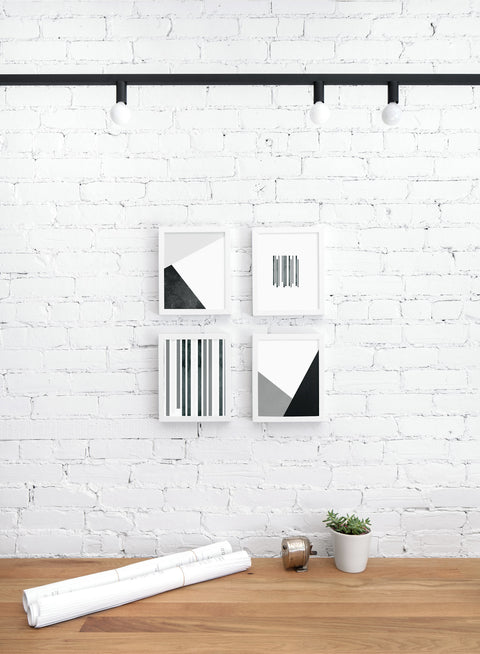 Scandinavian art print by Opposite Wall with with black and white abstract graphic design - Zoom In - Personal office