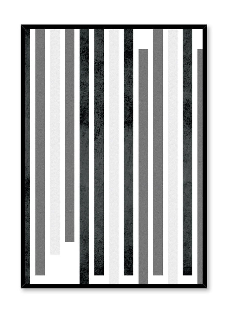 Scandinavian art print by Opposite Wall with Zoom Out black and white graphic textured lines design
