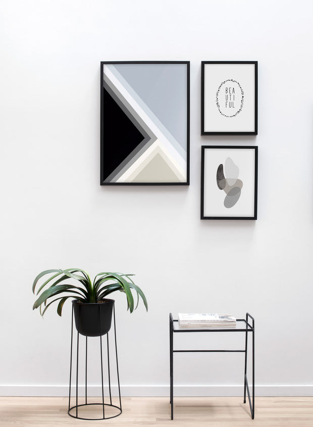 Scandinavian poster by Opposite Wall with graphic Gradient Lines design - Living room with a design flower pot