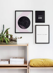 Modern minimalist poster by Opposite Wall with abstract graphic design - Living room close-up on a yellow cushion