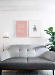 Scandinavian poster by Opposite Wall with trendy Hashtag typography design - Living room with a design lamp and sofa