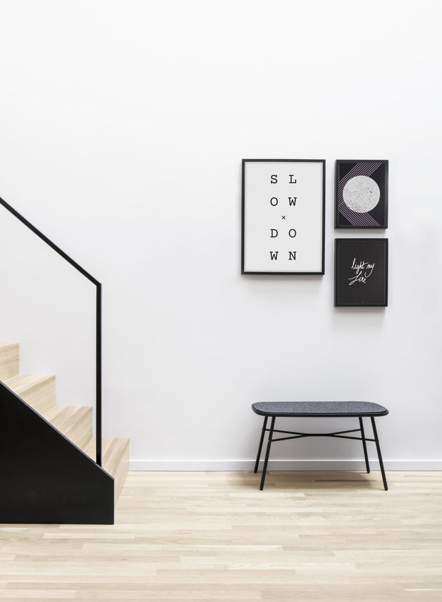 Modern minimalist poster by Opposite Wall with graphic and abstract design - Pink Lady - Living room with a design staircase