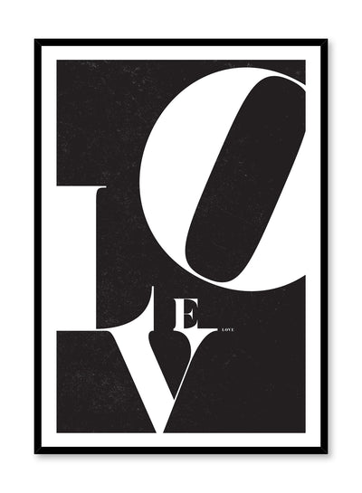 Scandinavian poster by Opposite Wall with trendy black and white Love typo graphic design