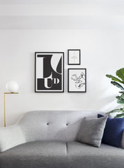 Minimalist poster by Opposite Wall with trendy black and white abstract graphic design - Organic No.1 - Living room sofa