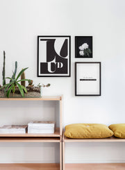 Scandinavian poster by Opposite Wall with trendy graphic typo design - Light my Fire - Living room close-up on yellow cushions and a cactus