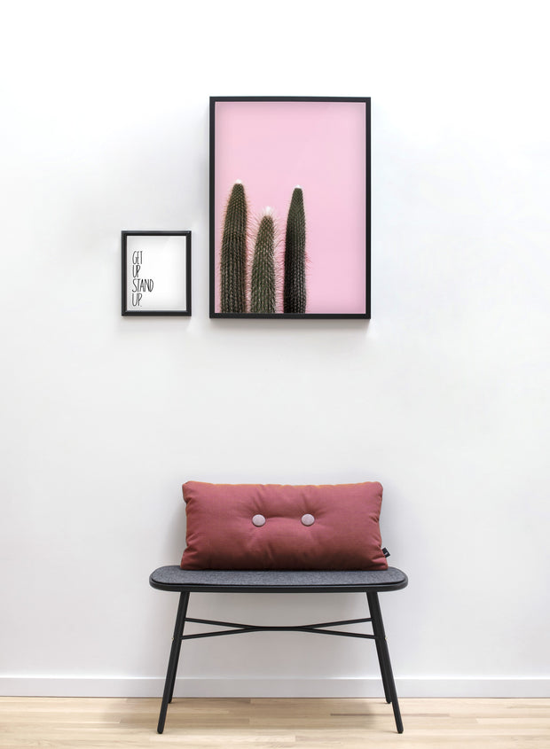 Scandinavian poster by Opposite Wall with Cactus Times Three on pink - Living room with a raspberry cushion