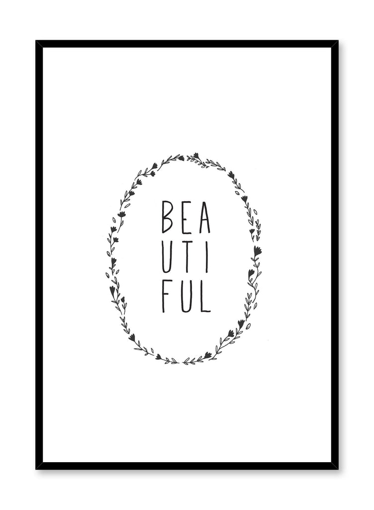 Modern minimalist art print by Opposite Wall with trendy design of the word Beautiful