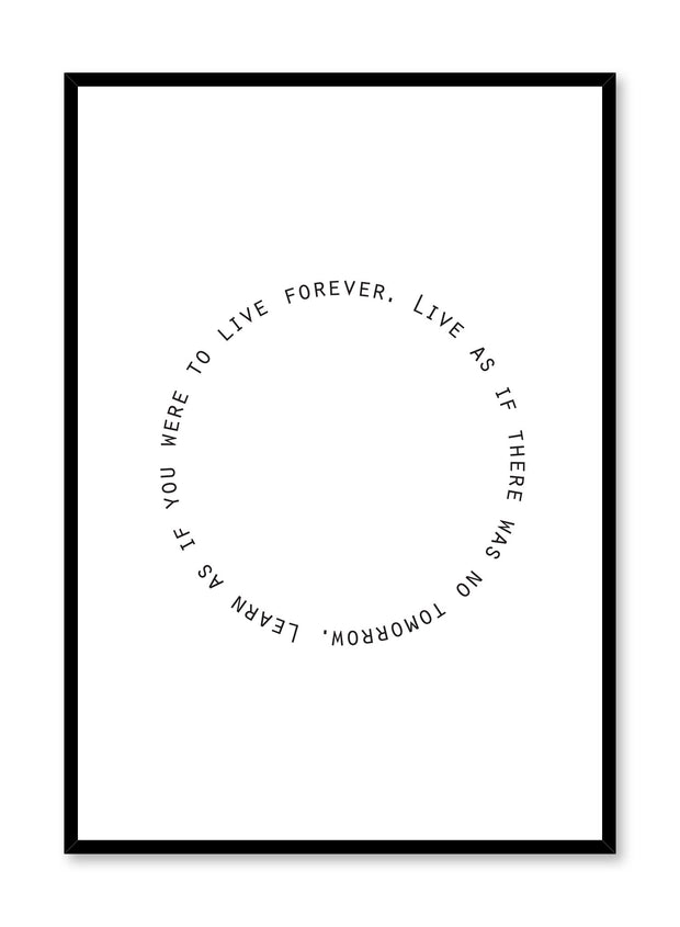 Modern minimalist poster by Opposite Wall with trendy Live and Learn round black and white typo design