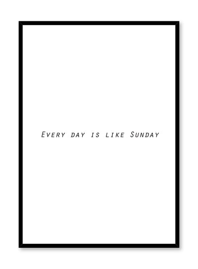 Minimalist art print by Opposite Wall with graphic typo design Sunday
