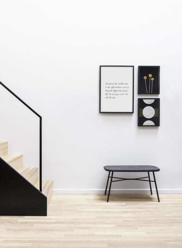 Minimalist art print by Opposite Wall with trendy Take the step quote typography design - Living room with a design staircase