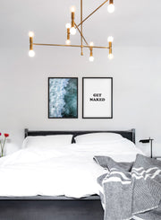 Scandinavian poster with black and white graphic typography design of Get Naked and sea photography - Bedroom