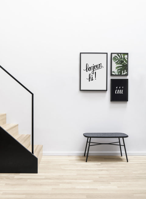 Minimalist art print by Opposite Wall with Bonjour hand-drawn design - Living room with a design staircase