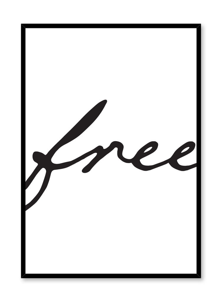 Scandinavian poster with black and white graphic typography design of Free by Opposite Wall