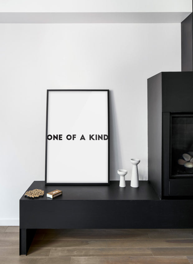 Scandinavian poster with black and white graphic typography design of One of a Kind - Living room, fireplace
