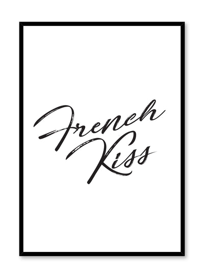 Scandinavian poster with black and white graphic typography design of french kiss by Opposite Wall