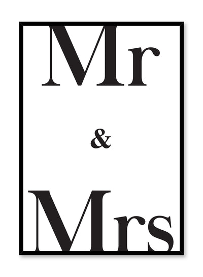 Scandinavian poster with black and white graphic typography design of Mr & Mrs by Opposite Wall