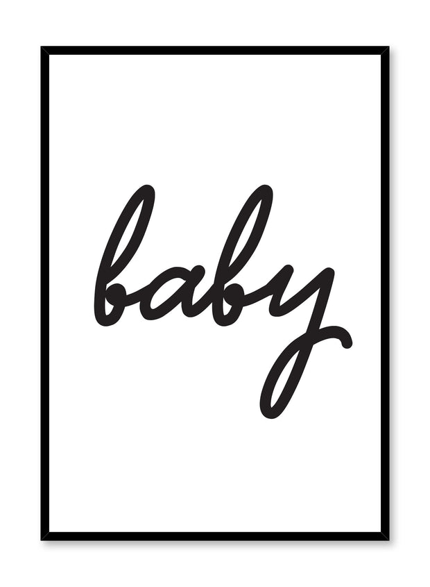 Scandinavian poster with black and white graphic typography design of baby by Opposite Wall
