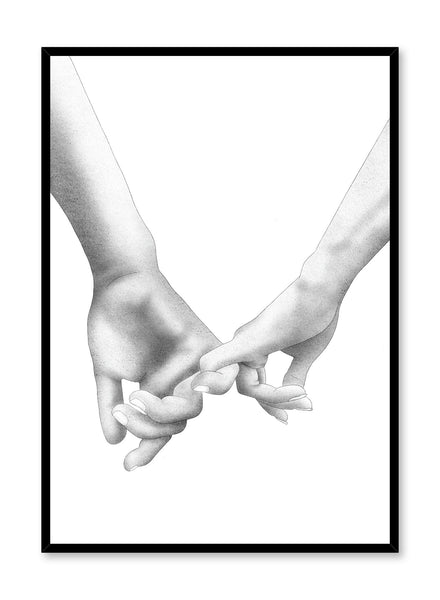 Modern minimalist poster by Opposite Wall with black and white Holding Pinkies illustration