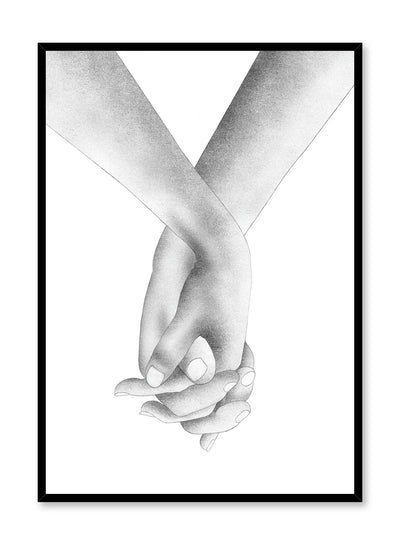 Modern minimalist poster by Opposite Wall with black and white Holding Hands illustration