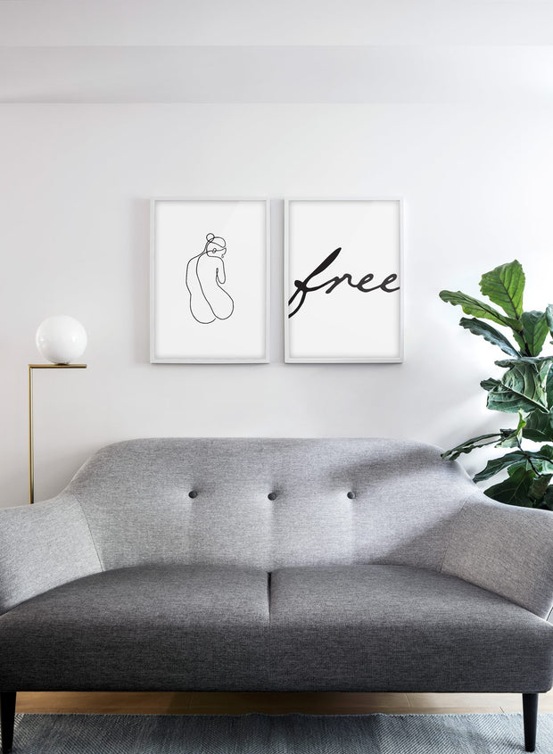 Scandinavian poster with black and white graphic typography design of Free and abstract illustration of silhouette - Living room