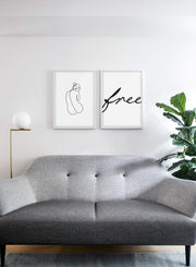 Modern minimalist poster by Opposite Wall with abstract illustration of Silhouette and free typography - living room