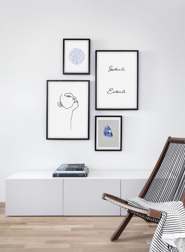 Scandinavian poster with black and white graphic typography design of Inhale Exhale and abstract illustration - Living room with a chair