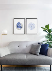 Modern minimalist poster by Opposite Wall with abstract illustration of Blue Dreams and fade into night - living room