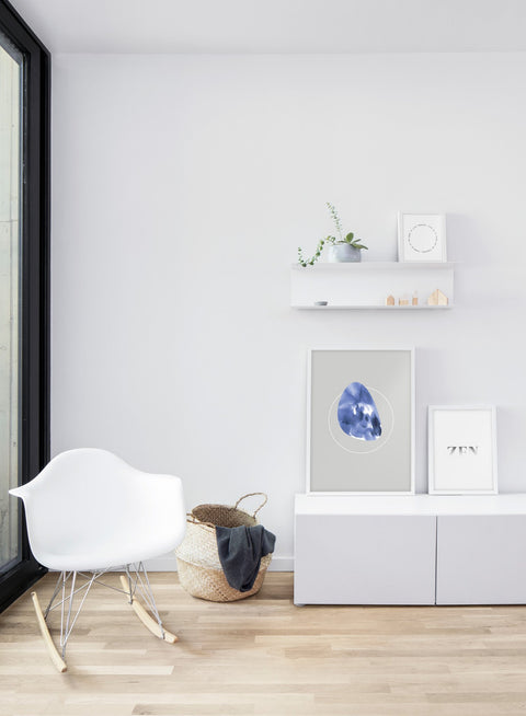 Modern minimalist poster by Opposite Wall with abstract illustration of Indigo and zen quote - living room