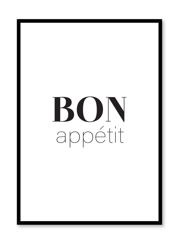 Modern minimalist art print by Opposite Wall with Modern minimalist art print by Opposite Wall with graphic Bon appétit