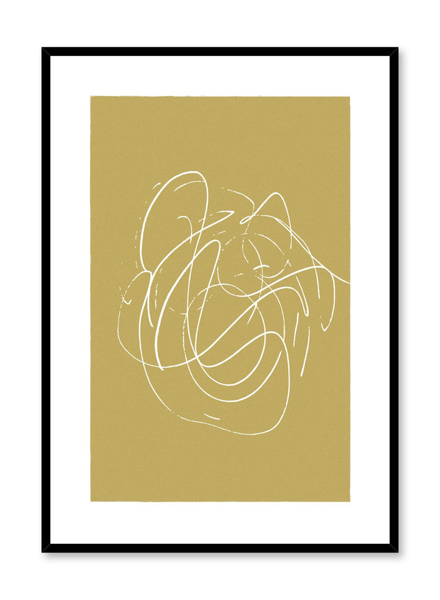 Scandinavian poster by Opposite Wall with hand-made art design with yellow swirls
