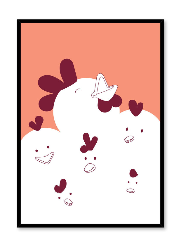 Modern minimalist poster by Opposite Wall with kids illustration of Chirpy Chicks