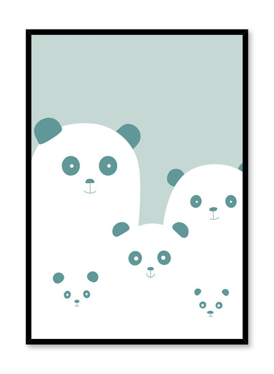 Modern minimalist poster by Opposite Wall with kids illustration of pandas