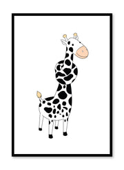 Modern minimalist poster by Opposite Wall with kids illustration of a giraffe