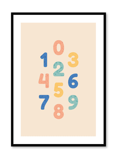Scandinavian poster with colourful graphic typography design of numbers by Opposite Wall