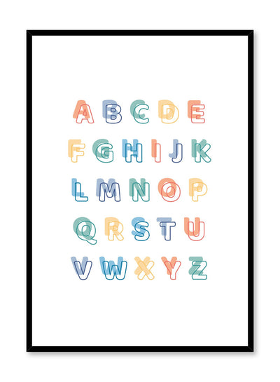 Scandinavian poster with colourful graphic typography design of Alphabet by Opposite Wall