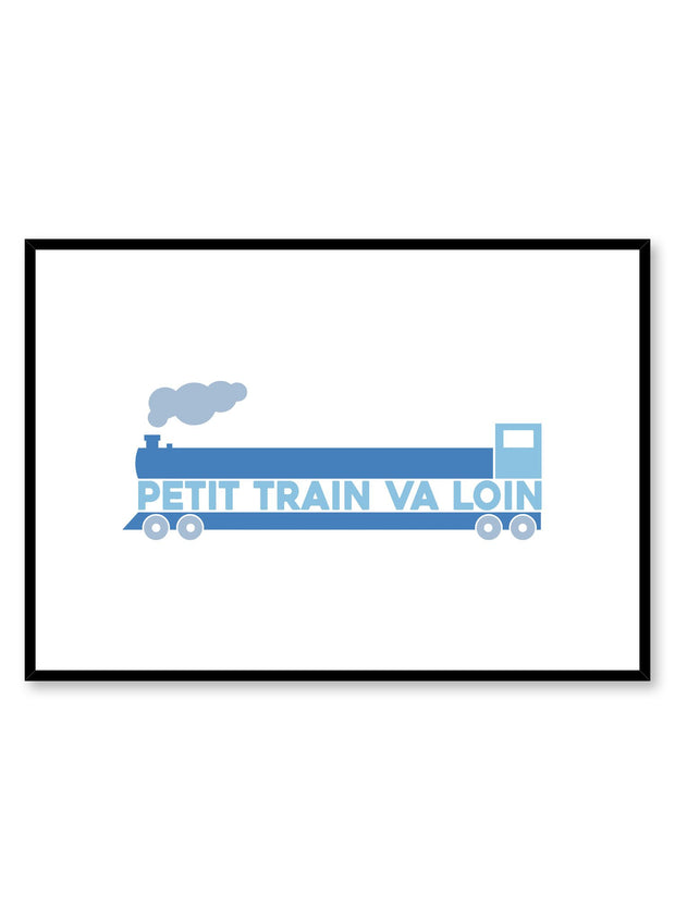 Scandinavian poster with colourful graphic typography design of Petit train va loin by Opposite Wall