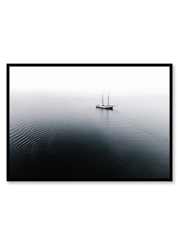 Minimalist design poster by Opposite Wall with lone ship on water photography