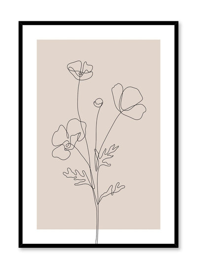 Minimalist design poster by Opposite Wall with line art drawing of poppy in pink