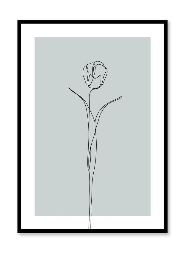 Modern minimalist poster by Opposite Wall with abstract illustration of Tulip in mint green