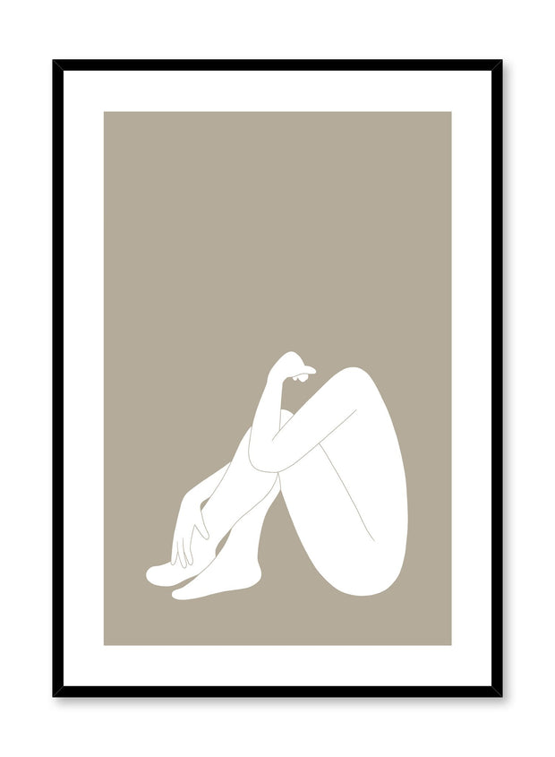 Minimalist design poster by Opposite Wall with abstract woman sitting in contemplation in white
