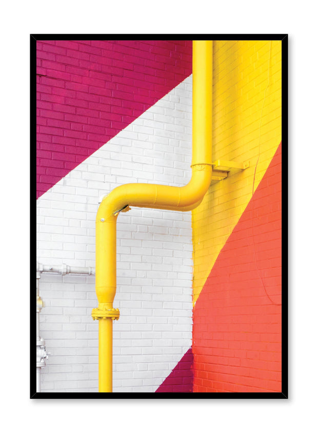 Minimalist design poster by Opposite Wall with photography of colourful pipes on brick wall