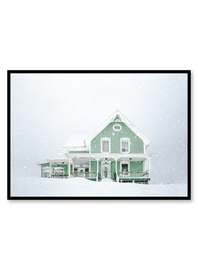 Minimalist design poster by Opposite Wall with photography of green home in white winter snow