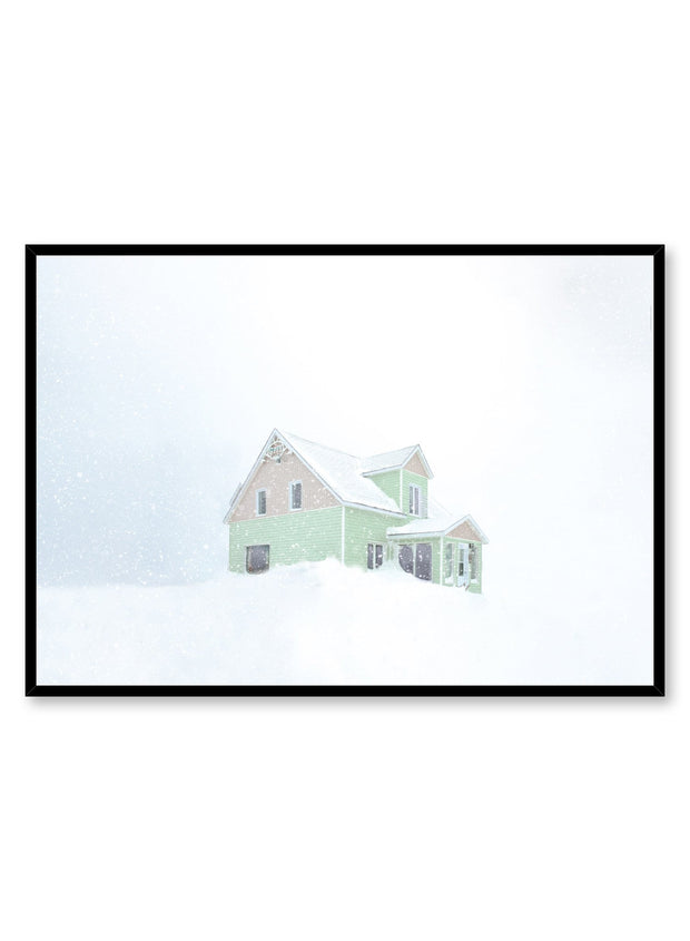 Minimalist design poster by Opposite Wall with photography of snowed in house in winter