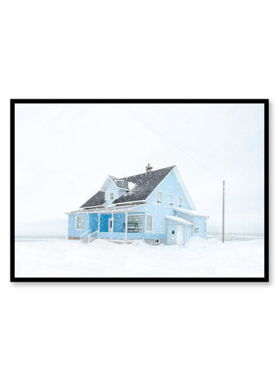 Minimalist design poster by Opposite Wall with blue House in Winter Snow photography